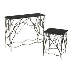 "Joshua Marshal - Silver and Black 31.5"" Appalachian Console Table - Silver and Black 31.5"" Appalachian Console Table"