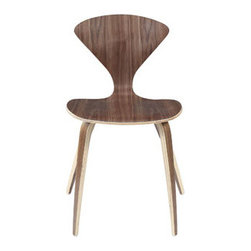"""LexMod - Vortex Dining Side Chair in Dark Walnut - Vortex Dining Side Chair in Dark Walnut - Accommodate channeled growth with the Vortex stacking chair. Nothing is lost in this piece that conveys molded wood elements in exceptional ways . With a welcoming waterfall effect seat and distinctive V-shaped back, radiate outward to include new and greater visions. Set Includes: One - The Vortex Chair Suitable for business or home use, Dark walnut lamination, Durable plywood seat, Sturdy plywood legs, Stackable Overall Product Dimensions: 17""""L x 18""""W x 31.5""""H Seat Height: 18""""HBACKrest Height: 14""""H - Mid Century Modern Furniture."""