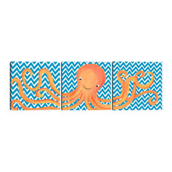 "Doodlefish - Oakley Octopus Triptych - A Triptych is a set of three pieces of art that start on one side and continue to the other. This set of 18"" x 18"" Gallery Wrapped Giclee Prints feature a playful orange octopus. The background of the artwork is a turquoise and white chevron. You can also purchase this set with personalization and in several other colors."