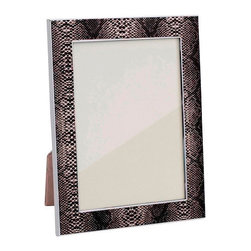 Addison Ross - Addison Ross Natural Faux Snake Enamel Picture Frame, 4x6 - Grey, Gloss Anti Tarnish. Silver Plated Zinc Alloy. Luxury Gift Box. Luxury Grey Velvet Back.