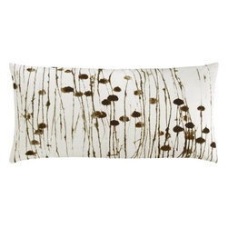 "painted cattails 23""x11"" pillow - cat scan. Tonal brown cattails grow abstract in painterly digital print. Cotton oblong in 100% cotton flips to solid natural (see additional photos).- 100% cotton- Reverses to 100% cotton natural- Feather-down insert- Hidden zipper closure- Dry clean- Made in India"