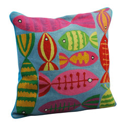 Crewel Work Pillow With Fish Design, Blue - Made in India. Cotton/polyfill. Dry clean only.
