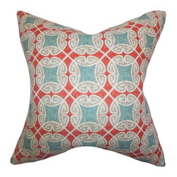 """The Pillow Collection - Warren Geometric Pillow Blue 18"""" x 18"""" - Make a bold and fresh twist to your interiors with this eclectic-looking square pillow. This throw pillow features a unique geometric pattern in shades of blue, white and red. Toss this accent pillow anywhere inside your home where it needs comfort and style. Constructed with 100% high-quality cotton material."""