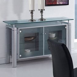 "Global Furniture - Buffet in Silver - The buffet features rectangular frosted glass top which is framed with clear glass. The tubular legs are made of silver metal and finished in beige which completes the look of your dining or living space.; Materials: Glass/Metal Legs; Color: Clear w/Frosted Stripe/Silver Legs; Weight: 63 lbs; Dimensions: 51""L x 18""W x 33""H"
