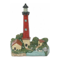 """Handcrafted Nautical Decor - Painted Red Lighthouse Door Stop 12"""" - Lighthouse Decor - The Ceramic Red Lighthouse Door Stop 12"""" allows you to show your affinity for sea life and keep your door propped open. Beautifully hand painted, this lighthouse has touches of red, black, and green around the lighthouse community. In addition, it is the perfect nautical gift for a relative, friend, or coworker. This door stop is fully functional and a great gift for the true nautical enthusiast in your life. Our lighthouse door stop has a weight of 5 lbs."""