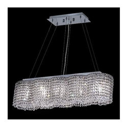 Elegant Lighting - Moda Clear Crystal Chandelier w 5 Lights in Chrome (Elegant Cut) - Choose Crystal: Elegant Cut. 6 ft. Chain/Wire Included. Bulbs not included. Crystal Color: Crystal (Clear). Chrome finish. Number of Bulbs: 5. Bulb Type: GU10. Bulb Wattage: 55. Max Wattage: 275. Voltage: 110V-125V. Assembly required. Meets UL & ULC Standards: Yes. 32 in. W x 8 in. D x 7 in. H (30lbs.)Description of Crystal trim:Royal Cut, a combination of high quality lead free machine cut and machine polished crystals & full-lead machined-cut crystals..SPECTRA Swarovski, this breed of crystal offers maximum optical quality and radiance. Machined cut and polished, a Swarovski technician¢s strict production demands are applied to this lead free, high quality crystal.Strass Swarovski is an exercise in technical perfection, Swarovski ELEMENTS crystal meets all standards of perfection. It is original, flawless and brilliant, possessing lead oxide in excess of 39%. Made in Austria, each facet is perfectly cut and polished by machine to maintain optical purity and consistency. An invisible coating is applied at the end of the process to make the crystal easier to clean. While available in clear it can be specially ordered in a variety of colors.Not all trims are available on all models.