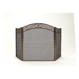 WOODFIELD - Woodfield 3-panel, Rubbed-oil Bronze Fireplace Screen Screen - Woodfield 3-panel, Rubbed-oil Bronze Fireplace Screen Screen