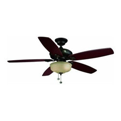 Hampton Bay - Indoor Ceiling Fans and Light: Hampton Bay Sibley 52 in. Oil-Rubbed Bronze Ceili - Shop for Lighting & Fans at The Home Depot. The Hampton Bay Sibley 52 in. Oil-Rubbed Bronze Ceiling Fan is beautifully styled and features 5 reversible blades to present your choice of rosewood or oak finishes. It is built around a powerful 75 RPM motor that delivers up to 5,543 CFM of maximum airflow, and it is equipped with a beautiful scavo-glass light fixture for additional utility. Controls are provided for 3 variable speeds and airflow reverse, and convenient Accuarm technology helps provide quick and easy installation.