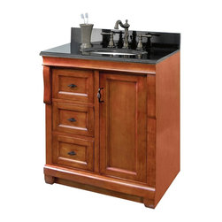 Pegasus - Naples 30 in. Single Vanity - NACA3021DL - Manufacturer SKU: NACA3021DL. Vanity top, faucet, sink, toothbrush holder and backsplash not included. Transitional design. Warm cinnamon finishVanity:. One door. Three full extension dovetail drawers. Black birdcage style hardware. Easy to clean PVC coated maple interior. Plywood side construction. No assembly required. 30 in. W x 21.56 in. D x 34 in. H (60.28 lbs.)Mirror:. 2 in. frame thickness. Secure-mount easy hang system secure installation. 30 in. W x 32 in. H (19.91 lbs.)