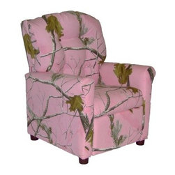 Dozydotes 4-Button Kid Recliner - Camoflauge Pink - Pink camoflauge might not be the most practical pattern but it looks great on the Dozydotes 4-Button Kid Recliner - Camoflauge Pink. This chair is durably crafted of solid hardwood and features an easy-recline mechanism that makes relaxing even easier. It's upholstered in soft fabric that's button tufted into a diamond pattern. About DozydotesDozydotes' mission is to bring joy to children and confidence to shoppers which Dozydotes achieves by offering exclusive designs and high quality products. The brainchild of experienced mother Rene Campbell and elementary educator Alisa Clark-Slodoba Dozydotes aims to bring smiles to the faces of children and parents alike with fun creative products. Designed with kids in mind Dozydotes recliner chairs are miniature versions of the real thing and are equally attractive meaning your child will have a custom-sized chair that will look great in your home.