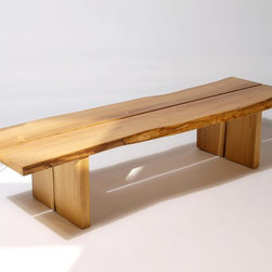 Split Bench - The Split Bench uses quartersawn natural edge planks with a gap in the middle, is available in a range of woods and is finished with multiple coats of hand-rubbed hardwax oil.  All material is sourced one log at a time through tree services in the New York tri-state area, milled on a bandsaw and air dried for at least two years before being kiln dried to ensure maximum stability.