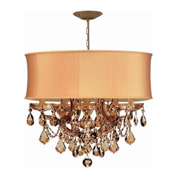 Crystorama - Crystorama 4415-AB-SHG-GTS Brentwood Chandelier - This isn't your Grandmother's crystal. The Brentwood Collection from Crystorama offers a nice mix of traditional lighting designs with large tailored encompassing shades. Adding either the Harvest Gold or the Antique White shade to these best selling skus opens the door to possibilities for these designer friendly chandeliers. The Brentwood Collection has a touch of design flair that will work for your traditional or transitional home.