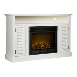 "Holly & Martin - Holly & Martin Savannah Media Electric Fireplace-Antique White X-04-6-480-812-73 - Classic cottage styling, a distressed antique white finish, and multipurpose functionality make this exquisite electric fireplace media stand a perfect choice. Louvered cabinet doors on each side of the firebox house an adjustable shelf for plenty of media storage. A large open shelf boasts space for receivers and game consoles. The firebox has realistic, multicolor flickering flames and glowing embers with an interior brick design for a more lifelike look. Combine with a flat screen TV and any room in your home will become the favorite.  This electric fireplace features energy efficient LED and requires no professional installation, making it a cost effective way to upgrade your living or media room. Easy to use remote control offers 4-way adjustability to warm the room conveniently. Safety features include automatic shutoff and glass that remains cool to the touch. Turn off the heat to enjoy the fireplace ambience year round!  - FEATURES:                                                                                             - Accommodates a flat panel TV up to 46"" W overall                                                      - Features 1 media shelf, 2 cabinets, and 2 adjustable shelves                                          - Offers 2 cord management openings                                                                     - Wood and paint are distressed with small wormholes and imperfections to add character                 - Distressed antique white finish                                                                       - PRODUCT SPECIFICATIONS:                                                                               - Open shelves: 43"" W x 14"" D x 5.5"" H                                                                  - Cabinets: 8.25"" W x 13"" D x 21"" H                                                                     - Cabinet shelves: 8.25"" W x 12.25"" D x 10.25"" H (adjust 2"" up/down)                                    - Approx. weight: 118.5 lb.                                                                             - Supports up to: 85 lb. (mantel), 20 lb. (media shelf), 15 lb. (per shelf)                             - Materials: pine, MDF, metal, resin, glass                                                             - Assembly required                                                                                     - Overall: 48"" W x 15"" D x 32"" H                                                                          - FIREBOX:                                                                                              - Lifelike multicolor flames and burning logs with embers                                               - Remote control adjusts thermostat, timer, logs, and flames separately with ease                       - Supplemental heat for up to 400 square feet                                                           - Classic brick style interior and optional down light illumination                                     - Safe, self-regulating heater turns off when desired temperature is met                                - Conveniently plugs into standard wall outlet with 6' cord                                             - Long life, energy efficient LED bulbs                                                                 - Glass remains cool to the touch                                                                       - Use without heater for year round enjoyment                                                           - Once powered off, logs and flames slowly turn down                                                    - Firebox front: 23"" W x 20"" H                                                                          - Temperature ratings: 62-82 degrees at 4 degree intervals                                              - Heating/power: 120V/60Hz, 1500W, 12.5 Amps                                                            - Batteries: 1 CR2025, included"