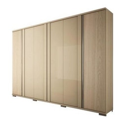 Manhattan Comfort - Soho 6-Door Wardrobe, Oak Vanilla and Nude - The SoHo is a large, functional wardrobe with handles that extend the entire length of the doors, providing a modern look. Its color combination was chosen to create a cozy atmosphere using light wooden tones. A combination of Oak Vanilla and Metallic Nude creates a sophisticated ensemble that will add to any room. Its many shelves, drawers, and aluminum rods allow you to neatly fold or hang items to keep things organized, and out of sight. The SoHo features a Pro-Touch High definition, ultra-resistant finish with the texture of natural wood, and stylish wood patterns. The unique paint is protected by the Microban Antibacterial Protection.