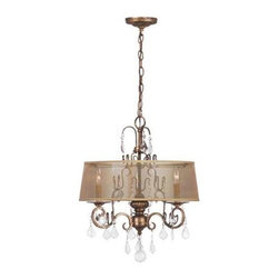 World Imports - World Imports Belle Marie 3-Light Crystal Chandelier with Shade, Antique Gold - World Imports 1943-90 Belle Marie 3 Light Crystal Chandelier with Shade, Antique Gold