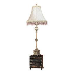 BZBZ27023 - Set of 2 Stacked Books Base Polystone Metal Buffet Lamp - 27023 polystone metal buffet lamp looks like a decorative sculpture; and can be used as classical garden decor also during parties. The special design of shade delivers unique lighting effect in the surrounding areas.
