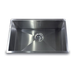 """Nantucket Sinks - Nantucket Sink zr2818-8-16 - 28"""" Pro Series large Rectangle Single Bowl Undermou - This undermount Pro Series rectangle fits in a 30"""" sink base and  provides 90° corners for additional space and a fresh modern industrial look. The bottom of the sink has channel grooves to divert water for proper drainage."""