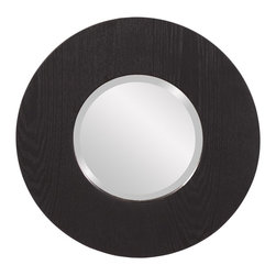 Howard Elliott - Oriole Round Wood Mirror - This simple mirror features a black wood grain veneer on a round frame.