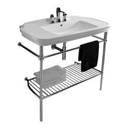 "WS Bath Collections - Nova Washstand in Ceramic White 39.4"" - Bathroom Sink"