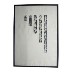 Pre-owned Abstract Lithograph in Black Frame - This elegant lithograph on paper depicts five graduated blocks each filled with unique abstract patterns. Unsigned; rests in new wood frame painted black.
