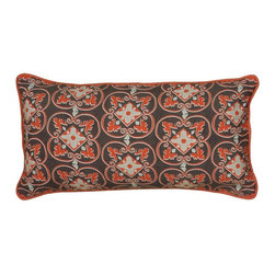 Rizzy Home - Rizzy Home Printed with Cording Details Decorative Throw Pillow in Gray Multicol - Shop for Pillows from Hayneedle.com! A gorgeous medallion design in red gray and black grace the Rizzy Home Printed with Cording Details Decorative Throw Pillow in Gray. Made of 85% cotton and 15% flax the removable cover of this throw pillow features a hidden zipper and a plush polyester insert.About Rizzy HomeRizwan Ansari and his brother Shamsu come from a family of rug artisans in India. Their design color and production skills have been passed from generation to generation. Known for meticulously crafted handmade wool rugs and quality textiles the Ansari family has built a flourishing home-fashion business from state-of-the-art facilities in India. In 2007 they established a rug-and-textiles distribution center in Calhoun Georgia. With more than 100 000 square feet of warehouse space the U.S. facility allows the company to further build on its reputation for excellence artistry and innovation. Their products include a wide selection of handmade and machine-made rugs as well as designer bed linens duvet sets quilts decorative pillows table linens and more. The family business prides itself on outstanding customer service a variety of price points and an array of designs and weaving techniques.