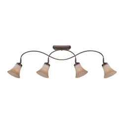 Quoizel Lighting - Quoizel ALZ1404PN Aliza 4 Light Track Lighting, Palladian Bronze - Aliza is elegant and stylish a beautiful collection for todays home. Featuring sleek oval tubing and a versatile Palladian Bronze finish, this collection compliments any d�cor with trumpeted fluted glass in a soft gradient amber mist.