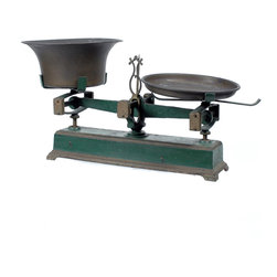 Consigned Antique Cast Iron Balance Scale - Large Green - This large decorative cast iron two-pan balance kitchen scale has a green base and is perfect on its own or as a display for other items. We love the look of these, somewhere between rustic industrial and French Farmhouse!