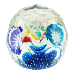 n/a - Consigned Czech Beautiful Flower Bouquet Faceted Paperweight, 1920's - We are offering a lovely vintage Deco 1920's Czech glass paperweight. The faceted shape features a bouquet of such delicate pretty vibrant colored  flowers aranged in a bouquet.