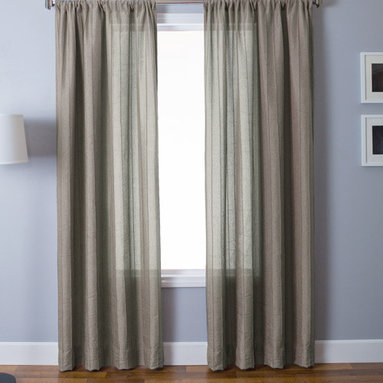 """Blindsgalore Signature Drapery Panel: Zante - Adding texture and interest, the Zante drapery panel features raised vertical lines (""""pin tucks"""") that cascade vertically down the length of the drapery.  The neutral panels maintain the same color on the front and reverse sides.  Constructed of a medium-weight faux linen fabric, this light filtering panel is at home in both contemporary and traditonal decors."""