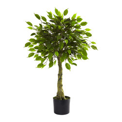"""Nearly Natural - Nearly Natural 3' Ficus Tree UV Resistant (Indoor/Outdoor) - An ideal """"small space"""" accent piece, this wonderful little Ficus tree will be at home in almost any decorating scheme. With 500 fresh-looking leaves bursting forth from the stout trunk, it brings the forest to you. And since it's weather and UV resistant, it looks as well on the patio as it does in your home or office. Makes a thoughtful gift for that hard to buy for person as well."""