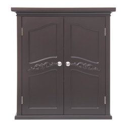 Elegant Home Fashions - Versailles Wall Cabinet with 2 Doors - The Versailles Wall Cabinet with Two Doors from Elegant Home Fashions features a dark espresso finish and offers a vintage look that compliments any bathroom. The cabinet design offers ample storage. The cabinet features two interior adjustable shelves that is ideal for storing items of different sizes.  The exquisite engraving on the door panels add an elegant touch. This cabinet comes with assembly hardware.
