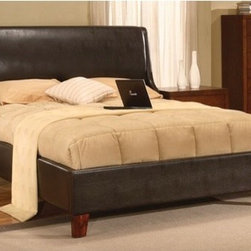 """Modus - Tiffany Sleigh Bed - Our Upholstered Bedroom Collection offers a range of luxurious upholstered bed frames and accessories designed to match any contemporary decor. The Upholstered Bedroom Collection is constructed from quality hardwood frames and features center leg supports and discreet metal-to-metal siderail brackets. All headboard backs are fully upholstered with leather match for use against a wall or floating in a room. Wood components are stained in Chocolate to match a wide range of wood finishes. Features: -Upholstered headboard wings give the bed a cozy, sheltered feel.-Luxurious padded leatherette upholstery.-Smooth seamless upholstery application lends the headboard a clean contemporary look.-Stylish contemporary design.-Cam lock bed rail fittings provide maximum strength and stability.-Constructed from Birch wood, leatherette upholstery, flame retardant polyurethane foam.-Requires a box spring.-Powder Coated Finish: No.-Gloss Finish: No.-Finish: Chocolate.-Non Toxic: No.-Scratch Resistant: No.-Mattress Included: No.-Headboard Storage: No.-Footboard Storage: No.-Underbed Storage: No.-Slats Required: Yes -Slats Included: Yes..-Center Support Legs: Yes.-Adjustable Headboard Height: No.-Adjustable Footboard Height: No.-Wingback: No.-Trundle Bed Included: No.-Attached Nightstand: No.-Cable Management: No.-Built in Outlets: No.-Lighted Headboard: No.-Distressed: No.-Bed Rails Included: Yes.-Collection: Tiffany.-Eco-Friendly: No.-Recycled Content: No.-Canopy Frame: No.-Jewelry Compartment: No.-Swatch Available: No.Specifications: -FSC Certified: No.-EPP Compliant: No.-CPSIA or CPSC Compliant: No.-CARB Compliant: No.-JPMA Certified: No.-ASTM Certified: No.-ISTA 3A Certified: No.-PEFC Certified: No.-General Conformity Certificate: No.-Green Guard Certified: No.Dimensions: -Overall Height - Top to Bottom (Size: California King): 55"""".-Overall Height - Top to Bottom (Size: King): 55"""".-Overall Height - Top to Bottom (Size: Queen): 55"""".-Overall Width - Side """