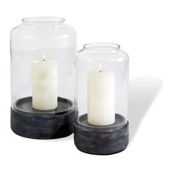 Interlude - Interlude Nasha Bell Jars - Set of 2 - Rustic and chic collide thanks to the charcoal wood base and hand-blown feel of the Nasha Bell Jars.