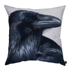 By Nord Copenhagen - Black Raven Decorative Pillow - The black raven is known from Norse mythology and we love how proud this one looks. Printed as a digital photo print on a cushion in the recognized cotton canvas quality from Danish firm By Nord. Imported from Denmark.