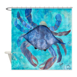 usa - Blue Crab Shower Curtain - Beautiful shower curtains created from my original art work. Each curtain is made of a thick water resistant polyester fabric. The permanently applied art work appears on the front side with the inside being white. 12 button holes for easy hanging, machine washable and most importantly made in the USA. Shower rod and rings not included. Size is a standard 70''x70''