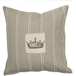 Homeware Decorative Accent Pillows - 20x20 Millstone Stripe Square Pillow w/Crown