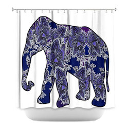DiaNoche Designs - Shower Curtain Artistic - Elephant 5 - DiaNoche Designs works with artists from around the world to bring unique, artistic products to decorate all aspects of your home.  Our designer Shower Curtains will be the talk of every guest to visit your bathroom!  Our Shower Curtains have Sewn reinforced holes for curtain rings, Shower Curtain Rings Not Included.  Dye Sublimation printing adheres the ink to the material for long life and durability. Machine Wash upon arrival for maximum softness. Made in USA.  Shower Curtain Rings Not Included.