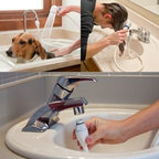Idea Factory, Inc. - Rinse Ace Sink Faucet Rinser with Detachable 3 Hose - Rinse Ace Sink Faucet Rinser makes bathing a pet or baby and shampooing your hair in the sink incredibly fast and easy. With this faucet rinser, there's no need for messy cups, pitchers or flimsy hoses that blow off.