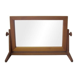 Pre-owned Teak Mirror with Swiveling Face - Teak tabletop mirror with a swiveling rectangular face which rests upon a sturdy, L-shaped base. Place it atop a pretty console table or Mid-Century credenza for a complete vanity!