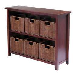 Winsome Wood - Solid Wood Storage Shelf w Six Rattan Baskets - This wood storage shelf unit features a solid tropical hardwood construction and a lustrous, walnut stain finish.  It includes six, woven rattan baskets to organize and store your items neatly in place.  Perfect for a bedroom, guestroom or den. * Constructed of solid tropical hardwoodWalnut stain finish30 in. H x 39 in. W x 13 in. D. Basket Dimensions: 11 in. L x 9  in. W x 10 in. H
