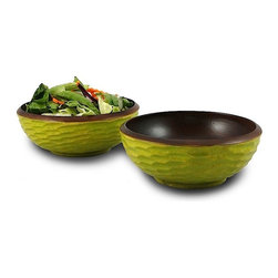 Enrico - Enrico Avocado Green Mango Wood Salad Bowls, Set of 2 - Bowls of Refreshing Springtime With a bit of bright color and a smooth, hand-carved shape, these little green salad bowls are decorative as well as functional. The crisp avocado green of each bowl's honeycomb carved outside edge represents the breezy warmth of invigorating springtime moods. Vibrant and carefree, the eclectic and colorful bowls will look great when full of food or empty and on the shelf - the perfect pop of color to bring energy to your space!Crafted with reclaimed mango wood from ThailandFinished with a durable watertight lacquerHand-carved by skilled artisansFood-safe, easy careEco-intelligent: conscientiously sourced, inventive and utilitarianHand-wash for best resultsColors may vary due to natural craftsmanshipSet of two (2) side salad bowlsMatches the other Avacado Green Mango Wood pieces