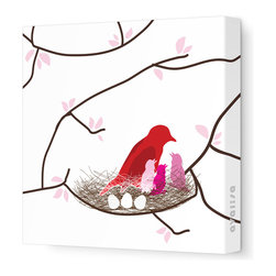 "Avalisa - Imagination - Bird Nest Stretched Wall Art, 18"" x 18"", White Pink - This endearing work of art will brighten your walls and warm your heart. Each piece is printed on fabric and applied to stretchers for a straight-from-the-gallery look. It would make a wonderful addition to a child's room or nursery."