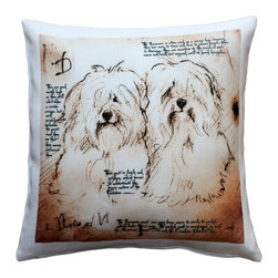 Pillow Decor - Leonardo's Dogs Havanese Duo Dog Pillow - Created in the style of a Leonardo da Vinci sketch, this image of two Havanese dogs is applied to a wonderfully soft and natural feeling indoor/outdoor poly-linen fabric. The Scottish Terrier Dog Pillow makes a great gift for anyone who owns and loves this breed. Or incorporate this pillow into your own home to celebrate the unconditional affection that your dog shares with you. A Leonardo's Dogs original.