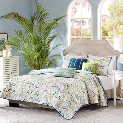 Madison Park - Madison Park Camilla 6-piece Coverlet Set - Add splashes of color to the bedroom with the Madison Park Camilla Six-piece Coverlet Set. The large scale paisley print has pops of blue,green and purple and reverses to a solid green that accents the green on the comforter's face.