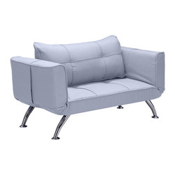 Zuo Modern Contemporary, Inc. - Tranquility Sleeper Settee Sky - This is fun and functional modern twist on the classic settee.  The Tranquilty Sette turns into a twin sized sleeper with adjustable armrests.  It is wapped in a beautiful polyblend.