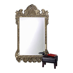 Howard Elliott - Marquette Antique Silver Mirror - Our Marquette Mirror features a large, oversized rectangular frame decorated with a dramatically ornate design. The frame is then painted with an antique silver leaf finish. Perfect for leaning against a wall.