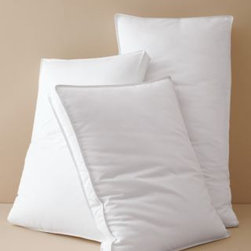 Garnet Hill - Garnet Hill Primaloft Comfort Side Sleeper Pillow - King - The ultimate hypoallergenic down-free bed pillow. This pillow features 2-inch gusseted side panels that support your head, neck and shoulders for proper alignment, the utmost comfort, and a great night's sleep. Antimicrobial, hypoallergenic Primaloft fibers mimic the loft and comfort of down. Ideal for those who are sensitive to down and recommended for side sleepers. Smooth 312 thread count pure cotton sateen shell. Machine washable. Durable double-stitched seams for long-lasting wear.