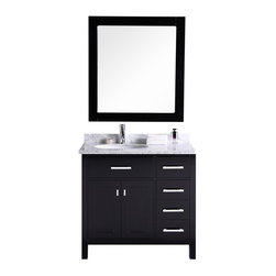 "DESIGN ELEMENT - London 36"" Single Sink Vanity Set - Drawers on the Right, Espreso - The London 36"" Single Sink Vanity Cabinet Set is constructed with quality woods and provides a contemporary design perfect for any bathroom remodel. The ample storage in this free-standing vanity includes one flip-down shelf, four fully functional drawers and one double door cabinet each accented with brushed nickel hardware. The cabinet itself is available in an espresso or white finish and the set is complete with a carrara white marble counter top and matching framed mirror."