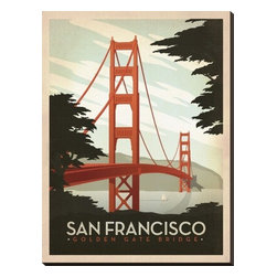 Artcom - San Francisco: Golden Gate Bridge by  Anderson Design Group - San Francisco: Golden Gate Bridge by  Anderson Design Group is a Stretched Canvas Print.