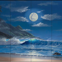 The Tile Mural Store (USA) - Tile Mural - Evening Serenity - Jw - Kitchen Backsplash Ideas - This beautiful artwork by Jeff Wilkie has been digitally reproduced for tiles and depicts an ocean scene in the moonlight  Beach scene tile murals are great as part of your kitchen backsplash tile project or your tub and shower surround bathroom tile project. Waterview images on tiles such as tiles with beach scenes and sunset scenes on tiles.  Tropical tile scenes add a unique element to your tiling project and are a great kitchen backsplash  or bathroom idea. Use one or two of our beach scene tile murals for a wall tile project in any room in your home for your wall tile project.